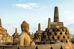 Buddha statue inside stupa of Borobudur temple Stock Photography