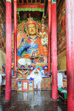 Buddha statue. Interior of Buddhist temple in a monastery in Ladakh, Kashmir, India Stock Image