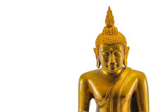 Buddha statue isolated picture with white background. Golden and bronze are material Stock Images