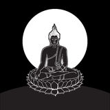 Buddha statue, Line drawing. Vector illustration Stock Photo