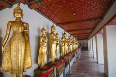 Buddha statue in line at Wat Pho. Wat Pho is one of famous temple in The Kingdom of Thailand. The main icon of this temple is its giant reclining Buddha Stock Photography