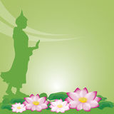 Buddha statue and lotus of thai tradition, Visakha Puja Day Stock Photo