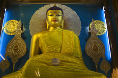Buddha statue at the Mahabodhi Temple. The Budhha statue inside the Mahabodhi Temple in Bodhgaya, India stock photography