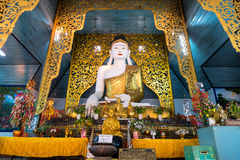 Buddha statue in main church of Wat Jong Kham in Maehongson, Tha Stock Image