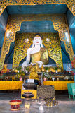 Buddha statue in main church of Wat Jong Kham in Maehongson, Tha Stock Photo