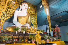Buddha statue in main church of Wat Jong Kham in Maehongson, Tha Royalty Free Stock Photos
