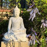 Buddha Statue Meditation in the Garden Peaceful Meditating Sculpture royalty free stock photo