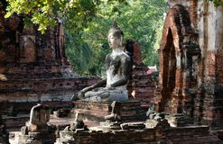 The Buddha statue in meditation posture with the sunlight emitting from the sky to illustrate a look of wise, calm, discreetly and. Respectful of his Royalty Free Stock Photography