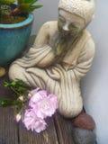 Buddha-Statue mit stieg lizenzfreie stockbilder