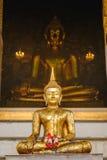Buddha-Statue mit thailändischer Kunstarchitektur und großer Buddha-Goldhintergrund in der Kirche Stockfotografie