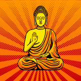 Buddha statue monument pop art style vector Royalty Free Stock Image