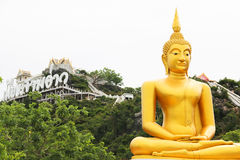 Buddha statue and the moutain background as horizontal Royalty Free Stock Image