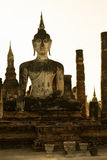 Buddha statue in old Buddhist temple ruins Stock Photography