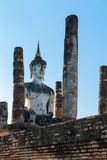 Buddha statue in old Buddhist temple ruins Royalty Free Stock Images