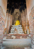 Buddha statue in old temple. In Ayutthaya province of Thialand stock image