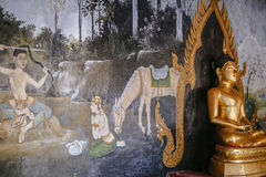 Buddha statue and painting Royalty Free Stock Image