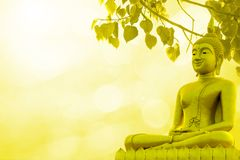 Buddha statue priest religion on golden background. Of thailand Royalty Free Stock Photo
