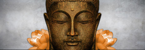 Buddha Statue. Statue representing the portrait of Buddha in meditation. Copy space Royalty Free Stock Photography