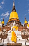 Buddha statue and ruin pagoda in Ayutthaya Stock Photo
