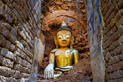 Buddha statue ruined by earthquake. Royalty Free Stock Photo