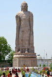 Buddha Statue at Sarnath. Sarnath is the deer park where Gautama Buddha first taught the Dharma, and where the Buddhist Sangha came into existence through the Royalty Free Stock Photo