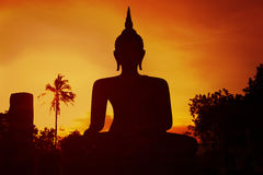 Buddha statue silhouette of on sunset Royalty Free Stock Photo