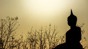 Buddha statue silhouette in sunshine Royalty Free Stock Photography