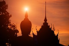 The buddha statue silhouette symbol Royalty Free Stock Photography