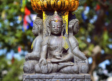 Buddha statue   on the square near Swayambhunath stupa in Kathma Stock Image