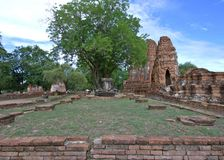 Buddha statue and stupa at Wat Mahathat, archaeological sites and artifacts. AYUTTHAYA-THAILAND : 9 August 2015 Buddha statue and stupa at Wat Mahathat stock photography