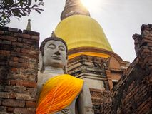 Buddha statue with sun light flare from the sky. stock photography