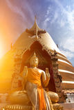 Buddha statue  and sunlight. Buddha statue in Thai temple  and sunlight Royalty Free Stock Photo