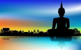 Buddha statue. Sunset sky background royalty free illustration