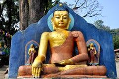 Buddha-Statue in Swayambhunath Stockfoto