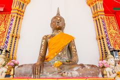 Buddha statue in temple, Thailand. Face image of buddha statue at Wat Nearnpar Rayong Royalty Free Stock Image