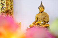 Buddha statue with thai art architecture in front church Wat Suthat temple. Stock Images