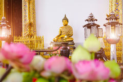 Buddha statue with thai art architecture in front church Wat Suthat temple. Stock Photo