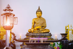 Buddha statue with thai art architecture in front church Wat Suthat temple. Royalty Free Stock Photos
