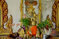 Buddha statue thai style and angel statue burma style for people Stock Images
