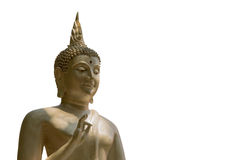 Buddha statue in Thai temple  isolated on white background Stock Images