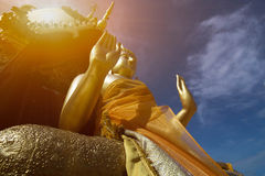 Buddha statue in Thai temple. And sunlight Royalty Free Stock Photography