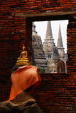 Buddha statue with thai temples. Buddha state with Ayutthaya, Thailand temples shown through a window Stock Images