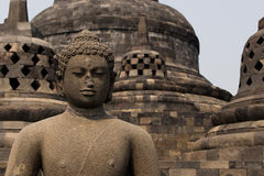Buddha statue on top of Borobudur temple, Java, Indonesia Royalty Free Stock Image