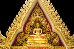 Buddha statue in triangle. Gold buddha statue in triangle Royalty Free Stock Photo