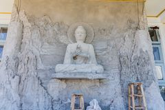 The Buddha statue is under construction in temple thailand. The Buddha statue is under construction in temple thailand Stock Images