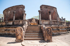 Buddha statue in Vatadage, ancient city of Polonnaruwa, Sri Lanka. Unesco World Heritage Site. Royalty Free Stock Photo