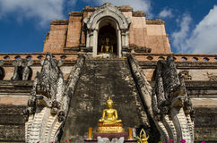 Buddha statue, Wat Chedi Luang. Head on view of the ruined medieval chedi at the Buddhist temple of Wat Chedi Luang, Chiang Mai, Thailand Royalty Free Stock Photos