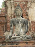 BUDDHA-STATUE, WAT MAHA DER TEMPEL, AYUTTHAYA, THAILAND Lizenzfreie Stockfotografie