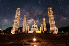 Buddha Statue at Wat Mahathat, buddha temple, in Sukhothai Histo. Buddha Statue at Wat Mahathat, buddha temple with milky way, in Sukhothai Histo Royalty Free Stock Images
