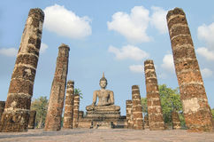 Buddha Statue at Wat Mahathat in Sukhothai Historical Park,Thail Stock Photo